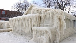House in ice Lake Ontario 12 03 2017