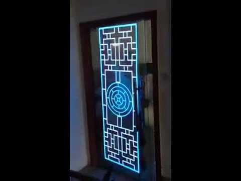 el panel glass door window decal by custom light up caps youtube. Black Bedroom Furniture Sets. Home Design Ideas