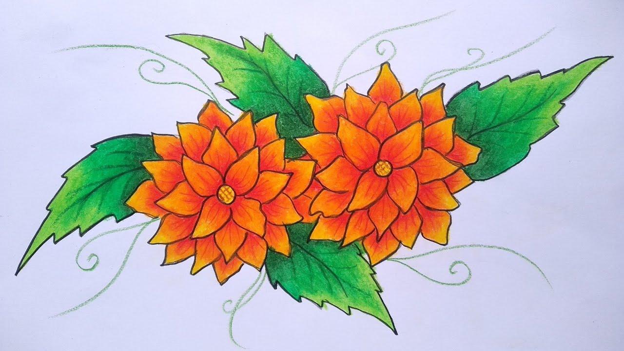 Cara menggambar batik motif bunga    Belajar menggambar batik    Menggambar  batik untuk pemula
