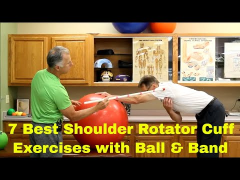7 Best Shoulder Rotator Cuff Exercises with Ball & Band (Strengthen & Stretch)