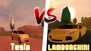 Lamborghini -2 level engine- VS Tesla -5 level engine- Jailbreak [ROBLOX]
