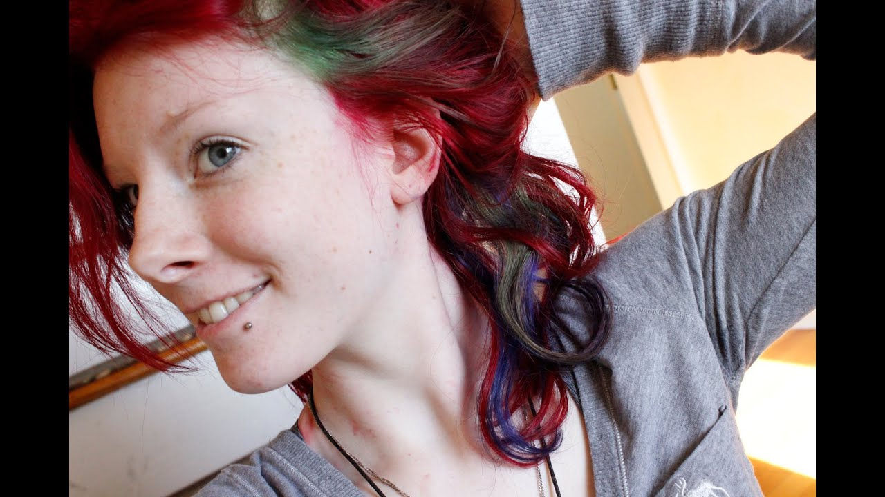 Dying hair red with blue and green highlights youtube dying hair red with blue and green highlights pmusecretfo Image collections