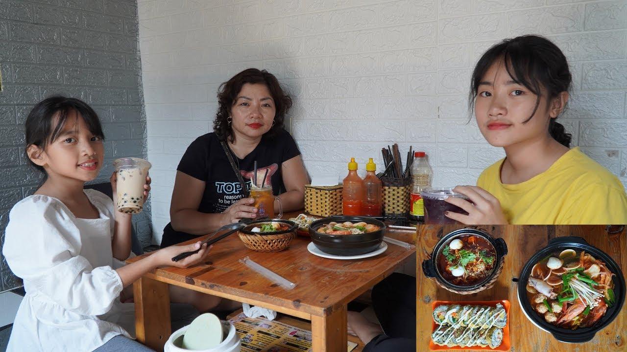 Đi Ăn Mì Cay Tokbokki Kim Bap và Uống Trà Sữa Trà Đào Cam Sả Trà Chanh Con Cá - Gia Đình Vui Vẻ