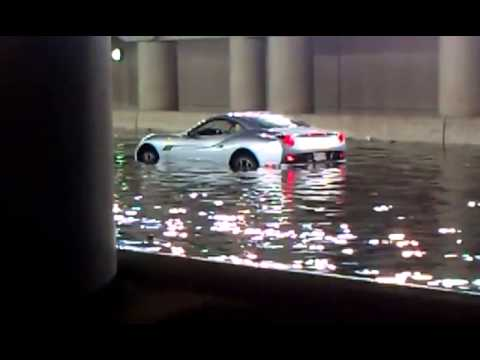 UNDERWATER FERRARI! #StormTO TORONTO FLOOD!!! @ReneLaVice