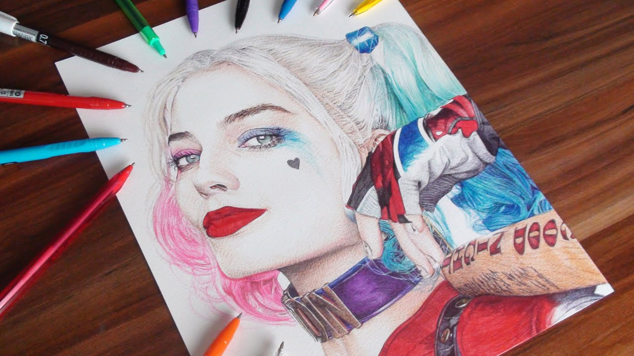 Harley Quinn Pen Drawing - Suicide Squad - DeMoose Art - YouTube