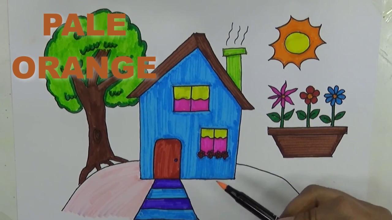 Cara Menggambar Dan Mewarnai Pemandangan Dan Rumah Untuk Anak