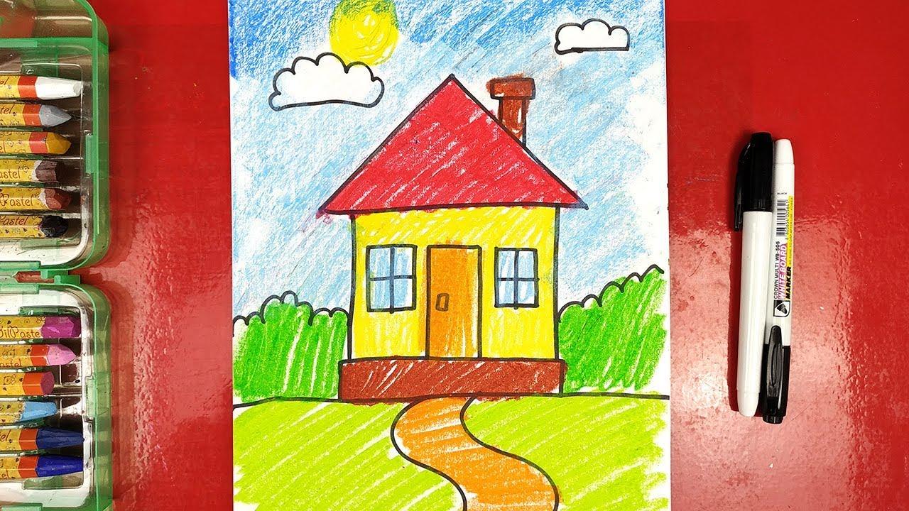 Урок рисования для детей от 3 лет - Как нарисовать Домик ...