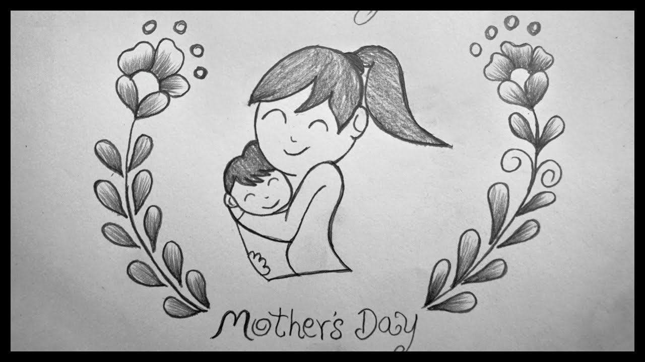 Drawing for mothers day easy pencil sketching mothers day drawing pencil art