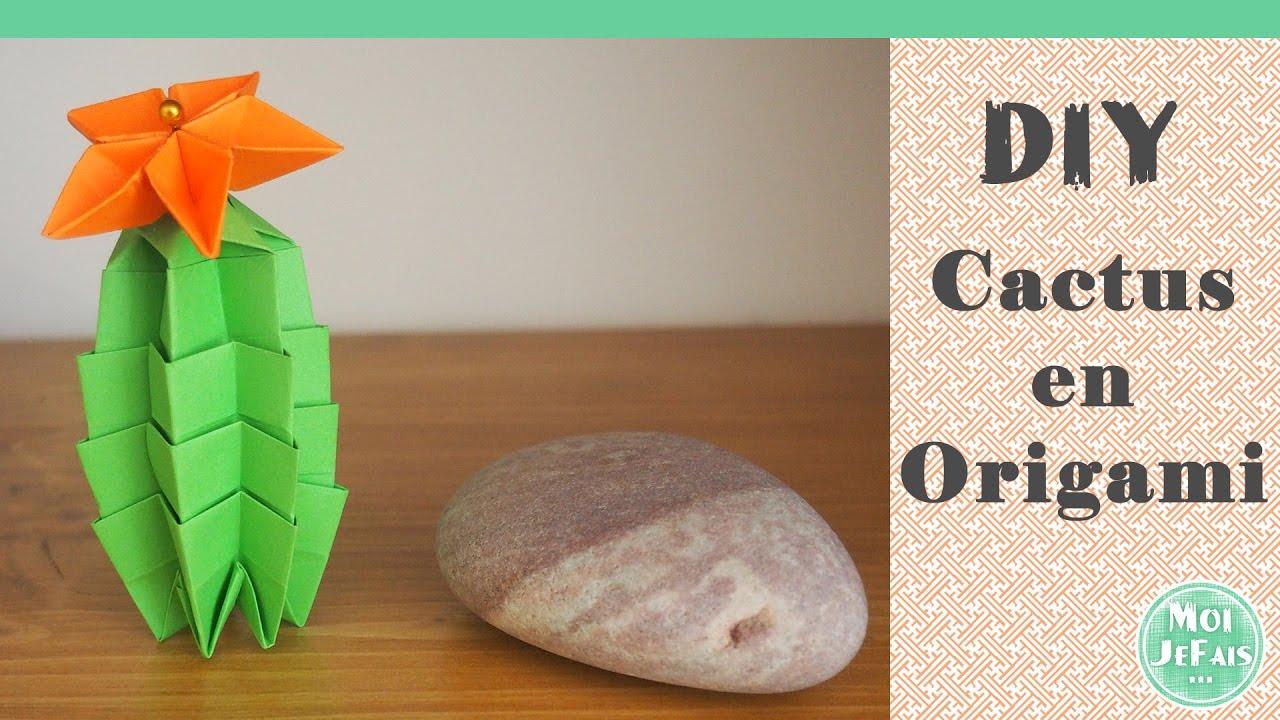diy origami facile le cactus youtube. Black Bedroom Furniture Sets. Home Design Ideas