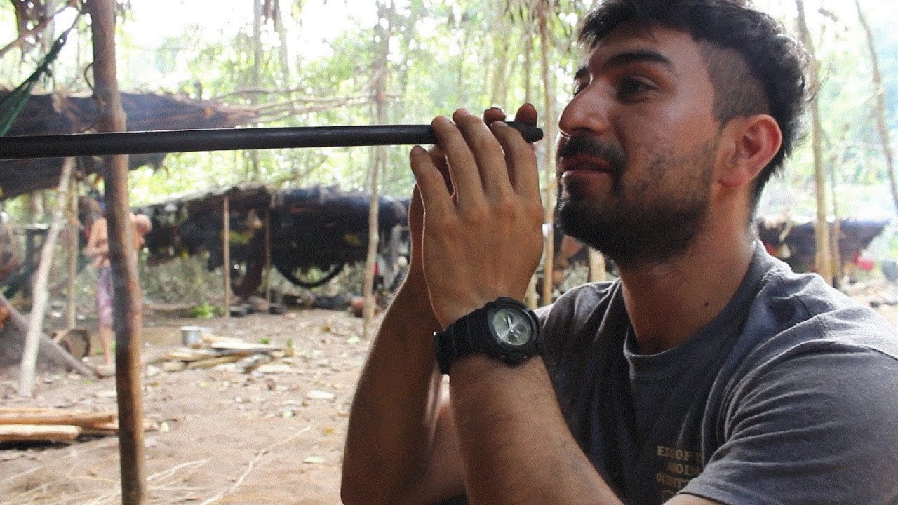 """Taking the entheogenic """"yopo"""" with my Yanomami family in the Amazon rainforest."""
