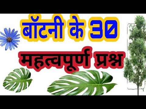 हिंदी में ! बॉटनी (botany) के 30 महत्वपूर्ण प्रश्न 2018