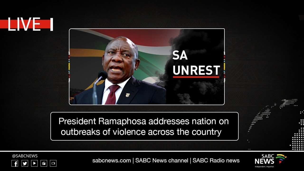 President Ramaphosa Addresses The Nation On Outbreaks Of Violence 16 July 2021 Youtube