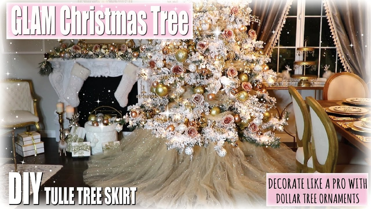 decorate the christmas tree with me rose gold blush glam diy tree skirt dollar store