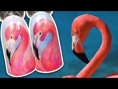 🐦 Розовый Фламинго 🐦 Летний Дизайн Ногтей для Маникюра в Отпуск / Рисунок Гель-лаком