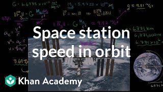 Space station speed in orbit | Centripetal force and gravitation | Physics | Khan Academy