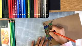 Coloring With FaberCastell Polychromos | Color Pencils | Coloring on Kraft Paper | Handmade Card