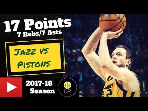 Joe Ingles vs Pistons 3/13/18   17 Pts, 7 Asts, 7 Rebs