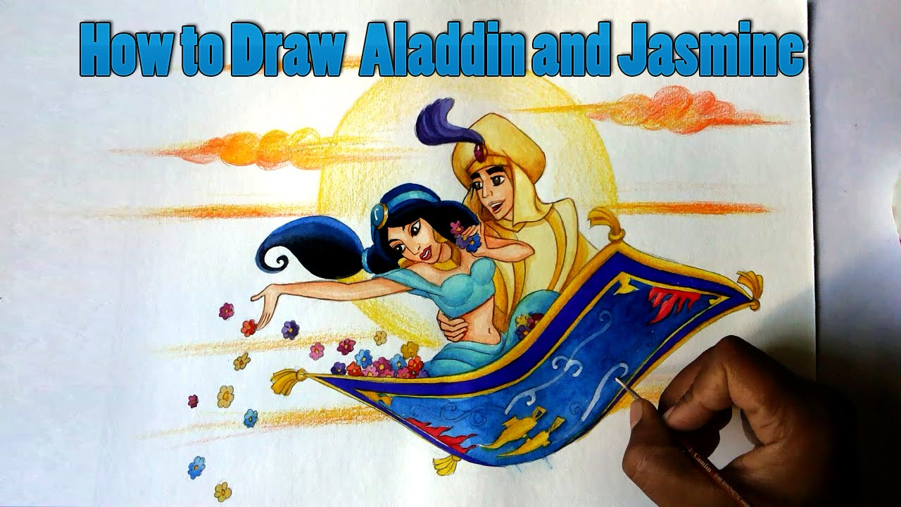 How to draw disneys aladdin and jasmine from aladdin youtube