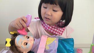 ソランちゃんをマッサージ!!エステサロンへようこそ!絵具ごっこ遊び Doll Paint Play