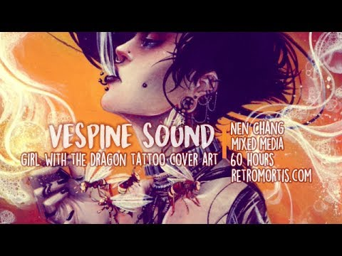 VESPINE SOUND | Girl with the Dragon Tattoo cover art | Watercolor, Gouache, acrylic painting
