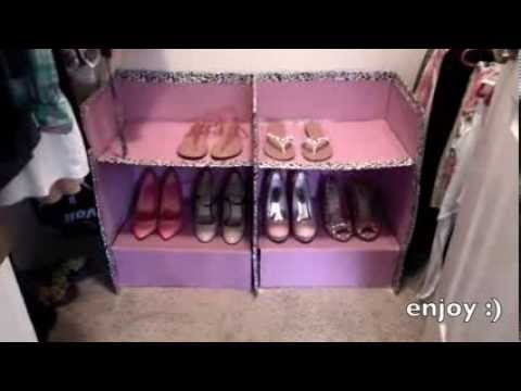 Diy how to make a shoe holder cardboard box diy youtube for Diy shoe storage with cardboard