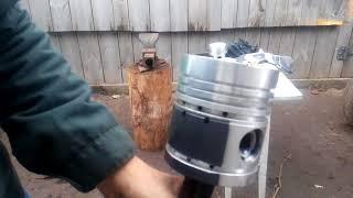 Ремонт двигателя  т 40, установка поршней на шатуны, вставляем пальцы в поршень горячим методом