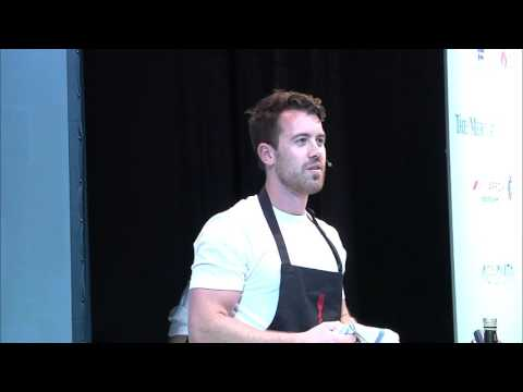 Brent Owens cooks his Pork Belly, apple and pop corn dish at Durban Good Food & Wine Show 2015