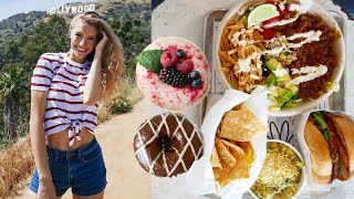WHAT I EAT IN A DAY / FULL DAY OF EATING VLOG IN LA | Vegan fast food & donuts!