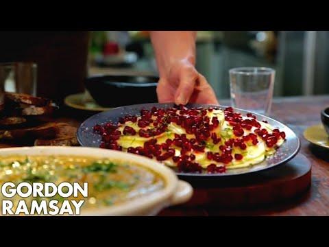 Gazpacho Paired With Pineapple Carpaccio, Pomegranate & Vanilla Salt By Gordon Ramsay