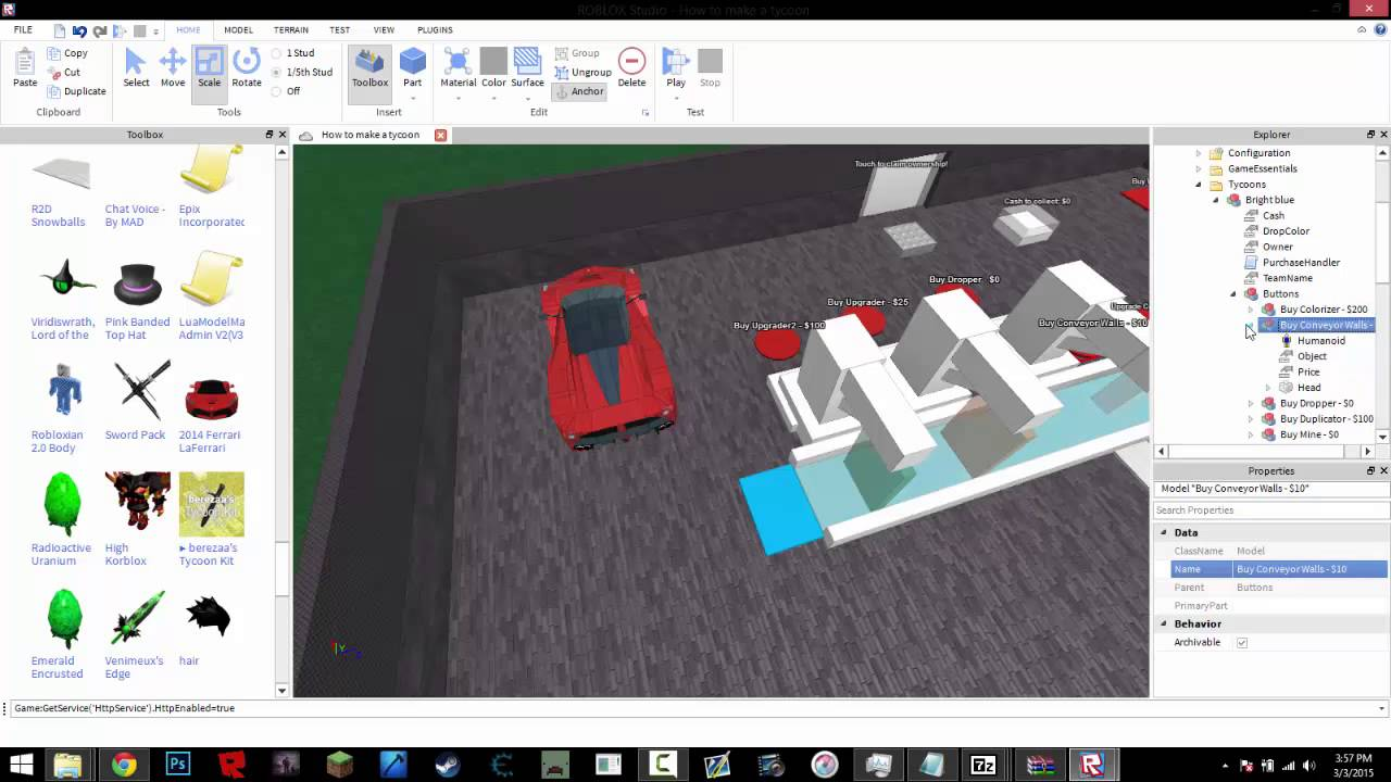 Roblox Studio How To Make A Tycoon 2015 Youtube