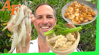 Fresh Tasty Banana Prawns 2 ways Beach Catch n Cook (Shrimp Fishing) EP.430