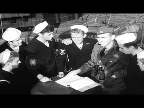 Blinking lights, semaphore, and signal flags used aboard LST (Landing Ship, Tank)...HD Stock Footage