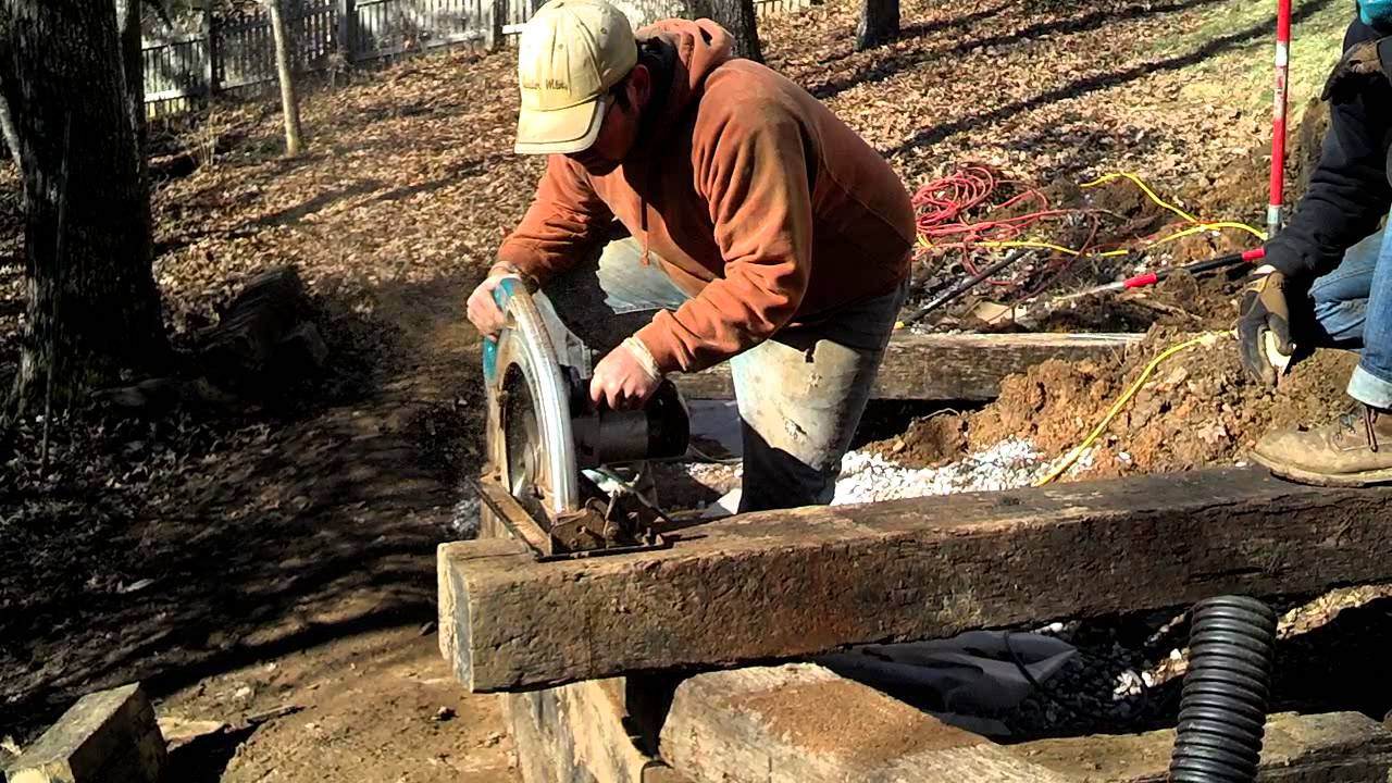 Cutting Railroad Ties With 16 Quot Circular Saw Youtube