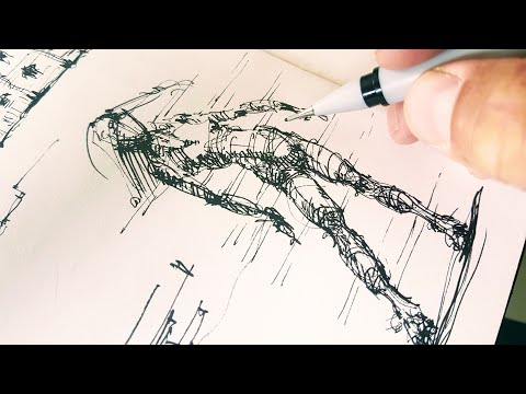 Скетчбук. Как рисовать фигуру человека - скетчинг линером - Эдуард Кичигин