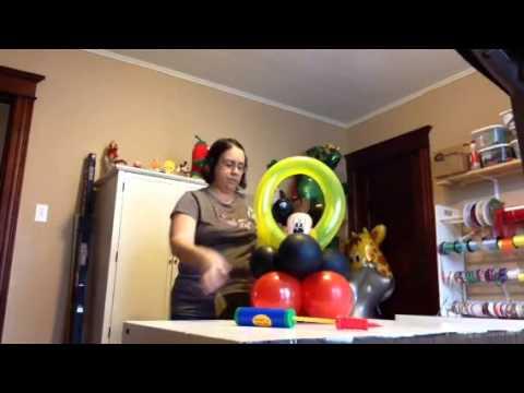 Mouse balloon centerpiece youtube for Balloon decoration ideas youtube