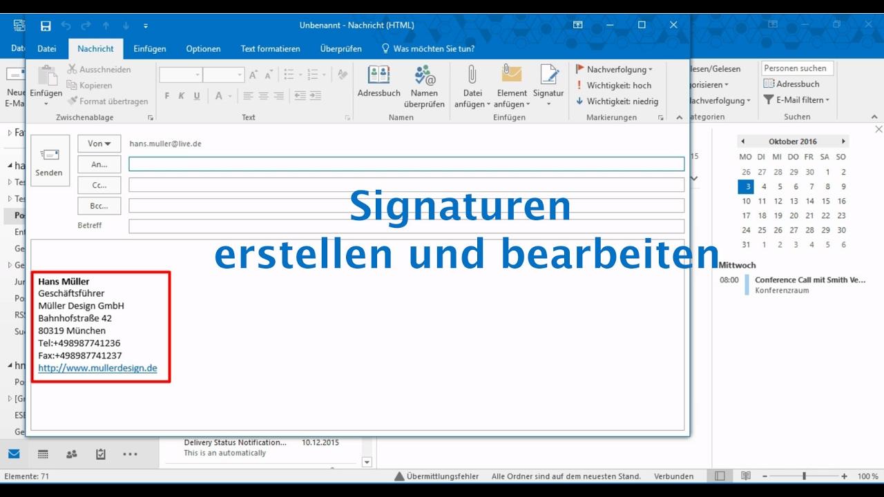 Outlook 2016 Signaturen Erstellen Und Bearbeiten