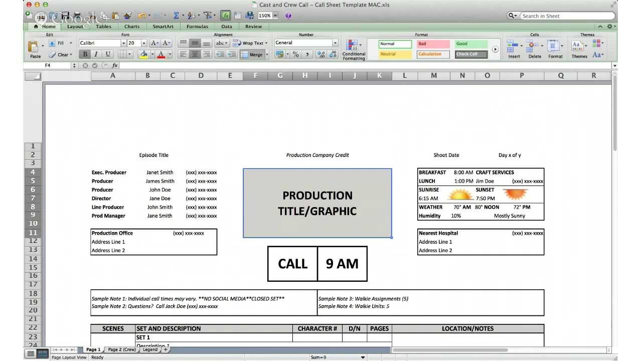 Radio production schedule call sheet template.