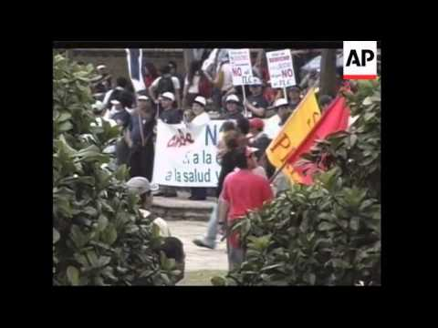 Thousands in protest against free trade pact