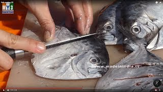 How to Clean & Cut Pomfret Fish | Pomfret Fish Cutting