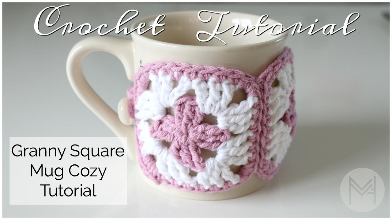 Crochet Granny Square Mug Cozy Tutorial Youtube