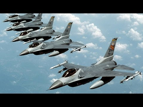 Six main fighter jets strike ISIS extremistic army organization mid-east political situation war