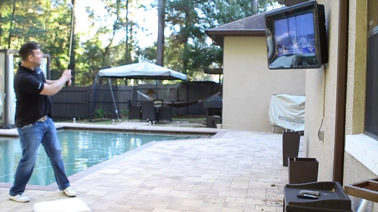 Outdoor tv backyard tv tv custom tv tv lift tv enclosure - The Tv Shield Weatherproof Outdoor Tv Enclosures Durability Test Video
