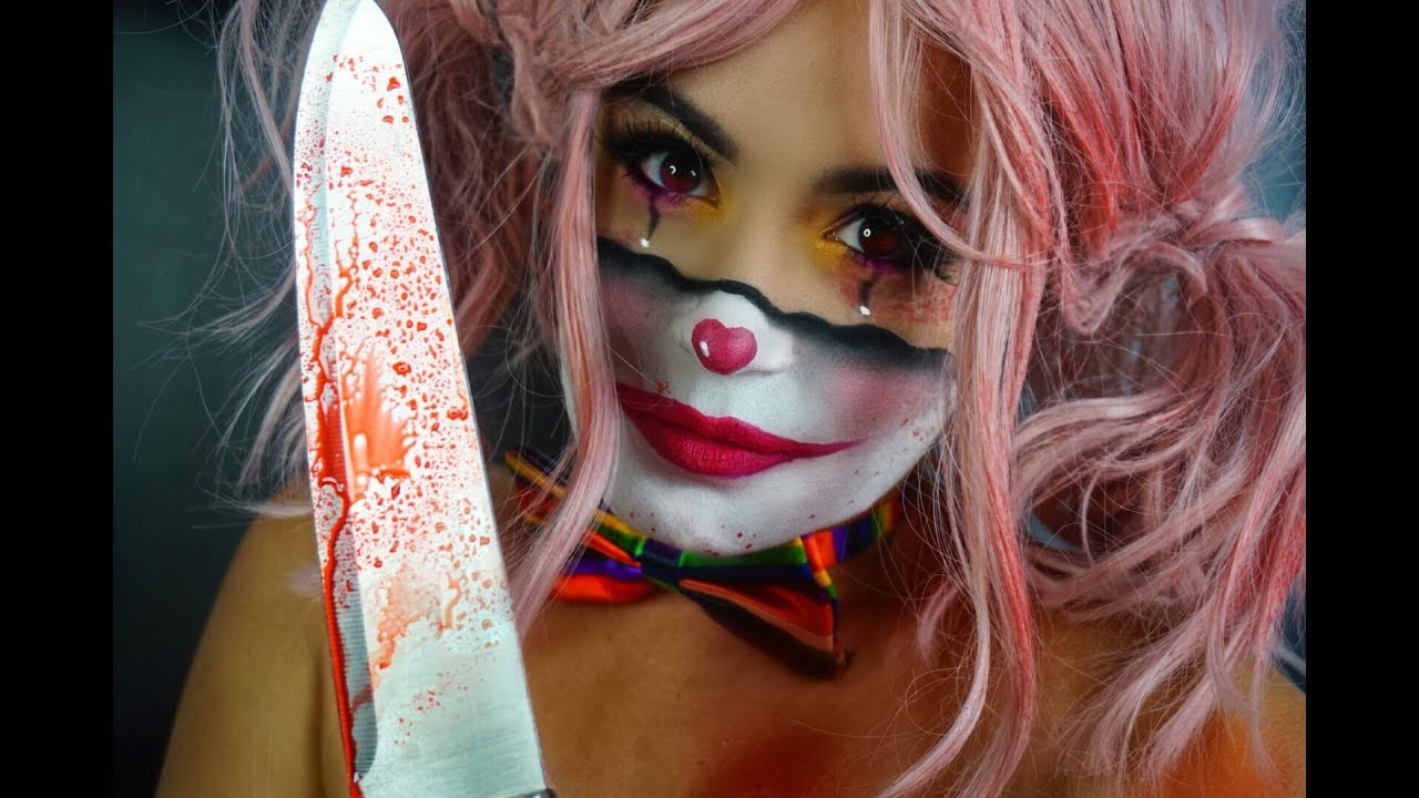 Creepy Clown Girl Halloween Makeup Tutorial - YouTube