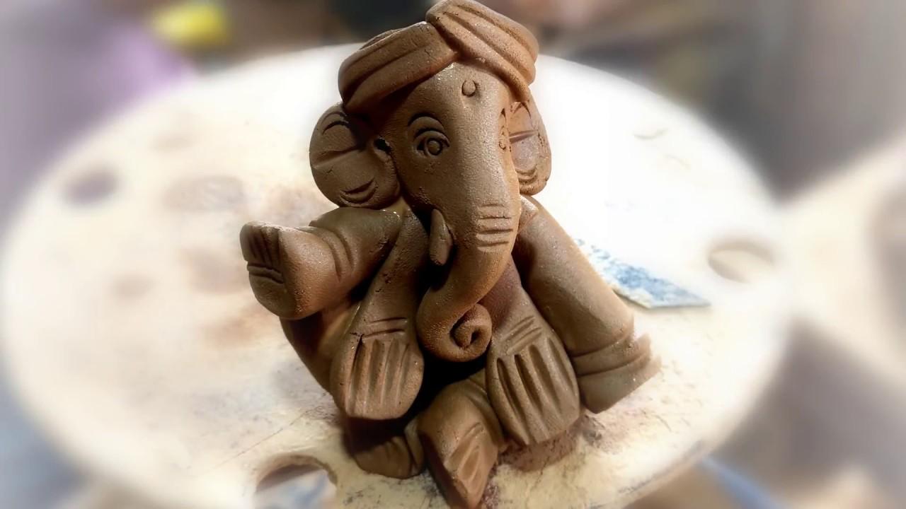how to make ganesha with clay, clay ganesh making at home, clay se ganesh ji banana - YouTube