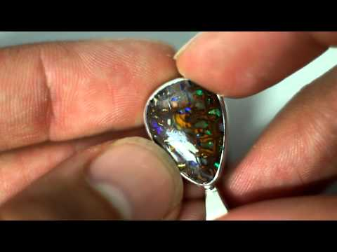 Matrix Opal Stirling Silver Pendant Necklace Jewellery #391