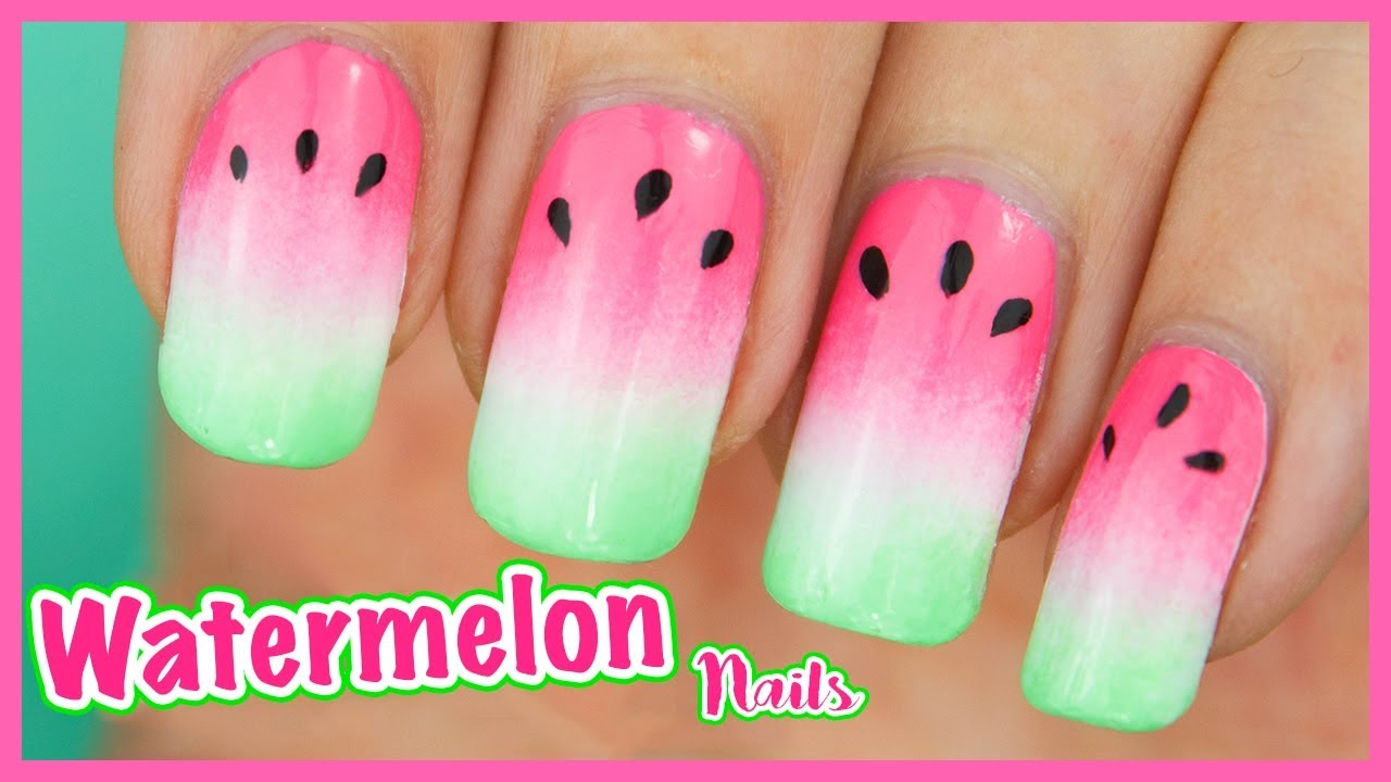 Ombre Watermelon Nails Fruity Grant Nail Art Tutorial For Summer