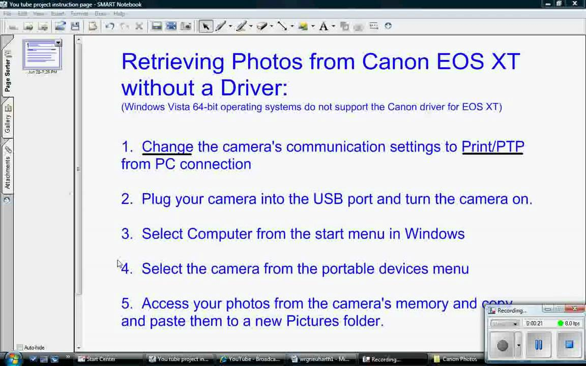 Retrieving photos from Canon Rebel XT without driver