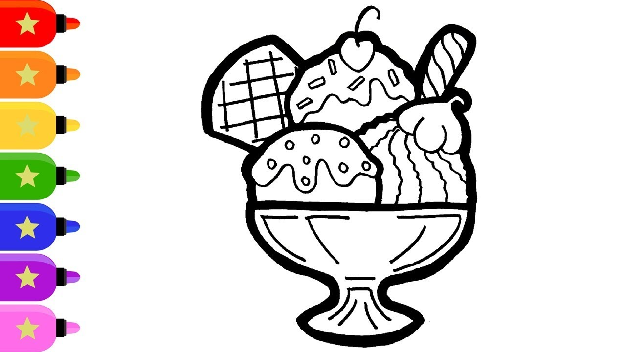 IceCream Cup Parfait Drawing and Coloring Art for Kids/ Cara ...