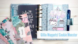 Gillio Muppets Collection   Cookie Monster   Medium Compagna XL Ostrich Print