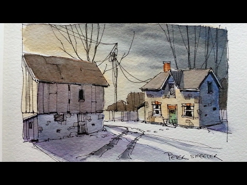 Draw and Paint a Farm at dusk. Line and Wash watercolor tuto
